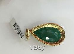 14k Solid Yellow Gold Solitaire Pendant With Accents Natural Emerald &Diamonds13GM