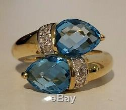 14k Yellow Gold Blue Topaz & Diamond Accent Bypass Ring, 2.6 cttw, Size 6