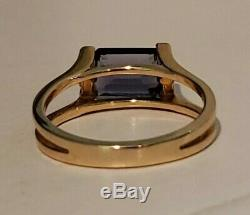 14k Yellow Gold Iolite And Diamond Accent Ring, 1.0 Cttw, Size 6