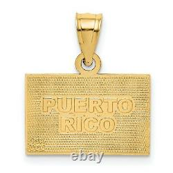 14k Yellow Gold Puerto Rico Flag Charm Pendant Red White Blue Accent Colors
