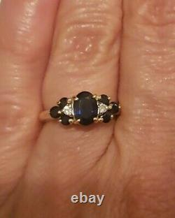 14k Yellow Gold Sapphire & Diamond Accent Ring. 50 cttw, Size 4