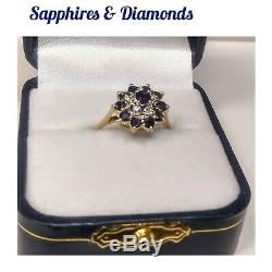 14k Yellow-gold Sapphires & Diamond Accents Flower Ring