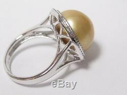 14mm Fresh Water Pearl with Diamond Accents Solitaire Ring Size 7 14k White Gold