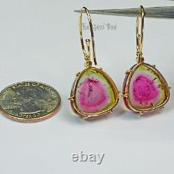 18K Solid Yellow Gold Diamond Accent 37.1CT Watermelon Tourmaline Slice Earrings
