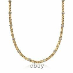 18 Diamond Accent Stationed Wheat Spiga Chain Necklace Real 14K Yellow Gold