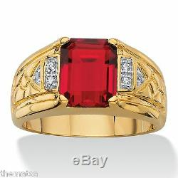 18k GOLD RED GARNET RING DIAMOND ACCENT GP SIZE 8,9,10,11,12,13