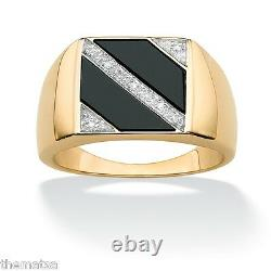18k Gp Gold Over Sterling Silver Diamond Accents Onyx Ring Size 8,9,10,11,12,13