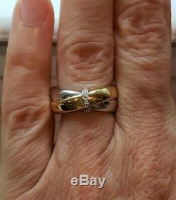 18k Two-Tone Gold Diamond Accent Band Ring, 3.1 Grams, Size 5.75