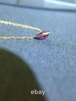 1CT Pink Sapphire Heart and Mine Cut Diamond Accent 14K Yellow Gold Necklace