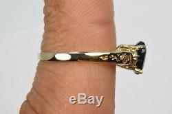 1.05 ct Sapphire & Diamond 14k Yellow Gold Ring Solitaire with Accents Size 5.5