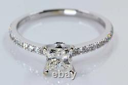 1.25 Carat TW Princess Cut Diamond Enagagement Ring withAccents in 18K White Gold