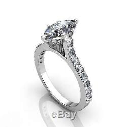 1.27Ct MARQUISE CUT CATHEDRAL ENGAGEMENT RING WITH ACCENTS 14K SOLID GOLD