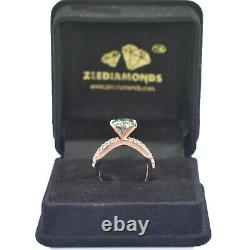 1.35 Ct Blue Diamond Solitaire Ring With Accents in Rose Gold, Excellent Lustre