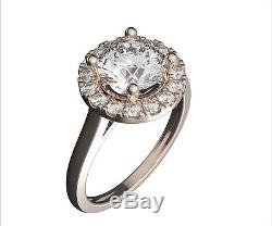1.3 Ct Round Cut Halo Engagement Real Accent Diamonds Ring Solid 14K White Gold