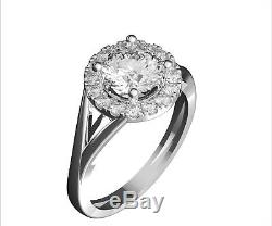 1.3 ct Diamonds/Moissanite Solitaire With Accents Engagement Ring 14K White Gold
