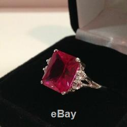 1.3ct Emerald Cut Pink Ruby Diamond Accent Solitaire Ring 14ct White Gold Over