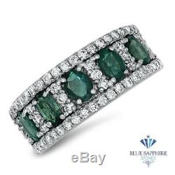 1.41ctw Oval Natural Alexandrite Ring with Diamond Accents in 18K White Gold