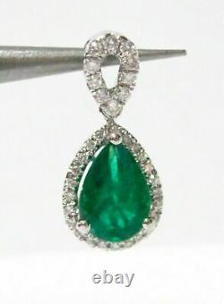 1.48 TCW Natural Pear Green Emerald & Round Diamond Accents Pendant 14k Gold