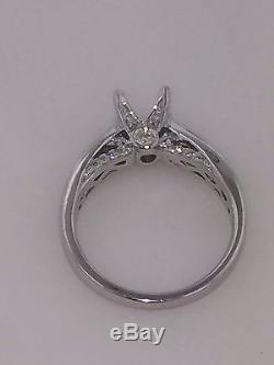1/4ct Diamond 14K White Gold Semi-Mount Solitaire with Accents Engagement Ring