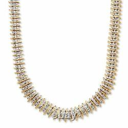 1/5 TCW Diamond Accent Tennis Necklace 18k Gold-Plated 18