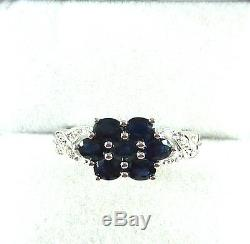 1.61ct Natural Midnight Blue Sapphire/Diamond Solid 10k White Gold Cluster Ring