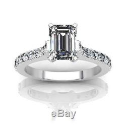 1.77Ct EMERALD CUT CATHEDRAL ENGAGEMENT RING WITH ACCENTS 14K SOLID GOLD