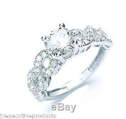 1 Carat Solitaire Ring With Shoulder Accents White Gold Engagement Ring Size K-S