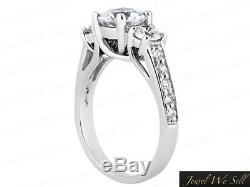1ct Round Diamond 3Stone Trellis Engagement Ring 10kt White Gold GH I1 Accents