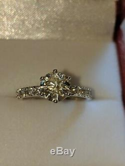1ct Solitaire Engagement Ring with Diamond Accents 14k Solid White Gold