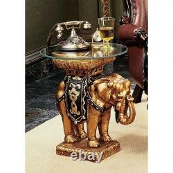 22 Good Fortune Elephant Sculptural Glass Topped Side Accent Table