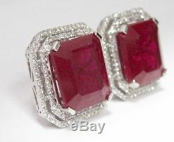 24.02 TCW Radiant Red Ruby & Diamond Accents Stud Earrings 18k White Gold