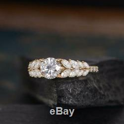 2CT Solid 14K Yellow Gold Round Cut White Moissanite Solitaire with Accents Ring