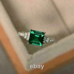 2Ct Princess Cut Emerald Diamond Accent Engagement Ring 14K SOLID White Gold