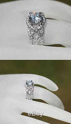 2.00 Ct Sim Diamond Twisted Solitaire & Accents Engagement Ring 14K White Gold