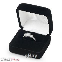 2.10 CT Three Stone with Accent Ring Engagement Wedding Band 14K White Gold