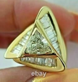 2.20Ct Trillion Diamond Solitaire Accent Diamond 14K Yellow Gold Over Party Ring