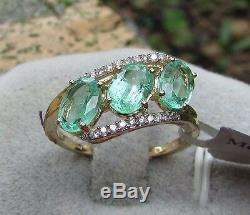 2.20 cts Genuine Russian Emerald Trilogy Size 7 Ring in 14k Yellow Gold Accents