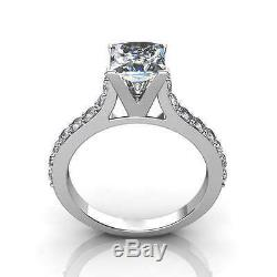 2.27Ct PRINCESS CUT CATHEDRAL ENGAGEMENT RING WITH ACCENTS IN 14K SOLID GOLD