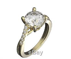 2.2 Ct Engagement Wedding Ring Real 14K White Gold Diamond Accents/Moissanite