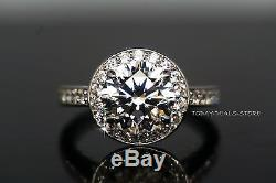 2.30CTW Ring Solitaire w accents Wedding Round Cut White Solid Genuine 14K Gold