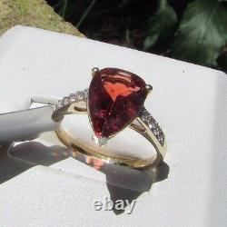 2.30 cts Genuine Andesine Solitaire Size 7 Ring 10k Yellow Gold Zircon Accents