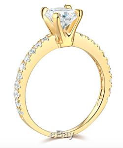 2.35 Ct Round Brilliant Cut Engagement Wedding Accent Ring Real 14K Yellow Gold