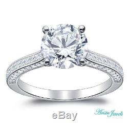 2.35 ct Round Solitaire Lab Diamond Engagement Ring w accents 14K White Gold