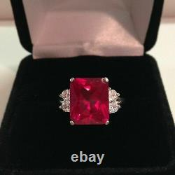 2.3ct Emerald Cut Pink Ruby Diamond Accent Solitaire Ring 14ct White Gold Over