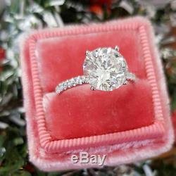 2.50ct Round Cut Diamond 14k White Gold Solitaire With Accents Engagement Ring