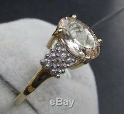 2.53 cts Genuine Morganite Solitaire Size 7 Ring 10k Yellow Gold Zircon Accents