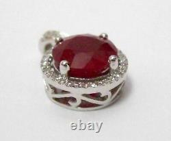 2.54 TCW Round Red Ruby & Diamond Accents Pendant G SI1 14k White Gold