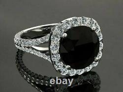 2.6ct Round Cut Black Diamond Accents Halo Engagement Ring 14ct White Gold Over