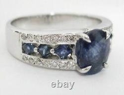 2.84 Natural Blue Sapphire & Diamond Accents Ring Size 8 18k White Gold