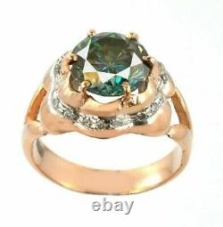 2.85 Ct Certified Gorgeous Blue Diamond Ring with Accents in Rose Gold